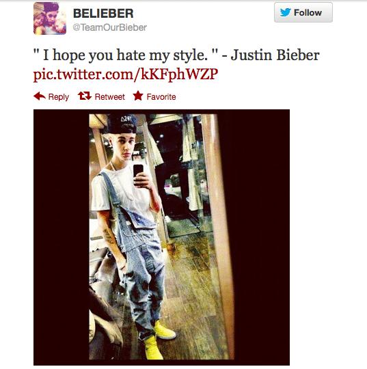 Justin Bieber overalls via twitter