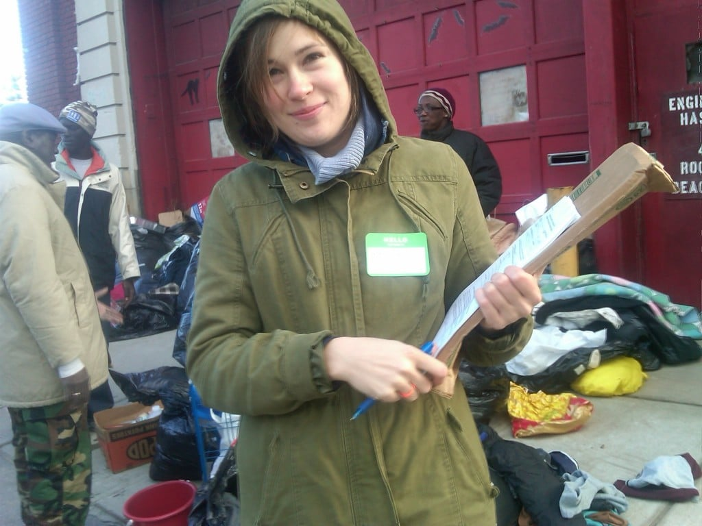 Hurricane Sandy volunteer. Signing people up for foodstamps.