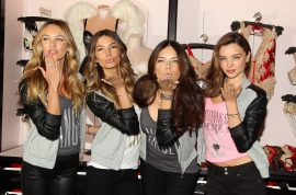 Morning frenzy as Victoria's Secret Angels, Adriana Lima, Miranda Kerr, Candice Swanepoel, and Lily Aldridge appear at NYC flagship store.