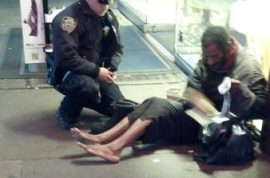 Photo of NYPD officer giving pair of boots to homeless man now viral.