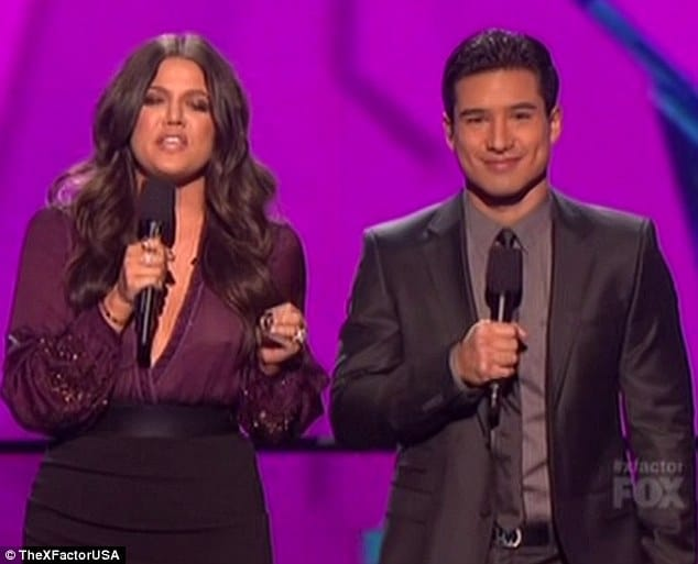 Khloe Kardashian and Mario Lopez on X factor