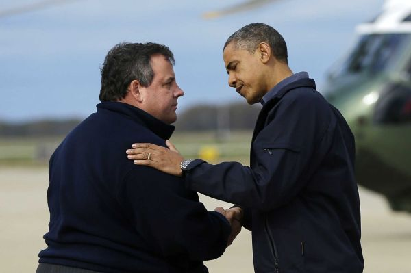 Governor Chris Christie and President Barack Obama.