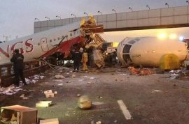 And here's video footage of a Russian plane crashing on the highway.