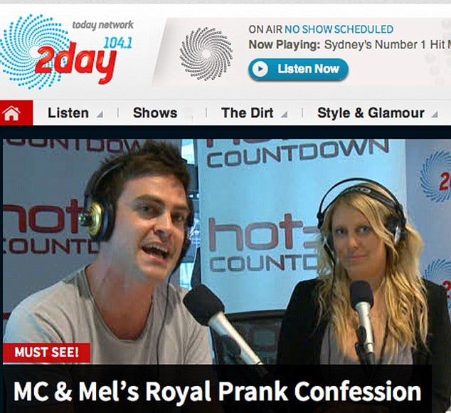 2DAY FM Aussie dj's Mel Greig and Michael Christian are scumbags.