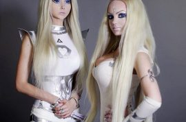 Oh really?! Living Barbie doll Valeria Lukyanova meets her twin double, Dominica.