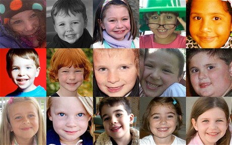 (Top row from left) Charlotte Bacon, Daniel Barden, Olivia Engel, Josephine Gay, Ana Marquez-Green. (Middle row from left) Dylan Hockley, Catherine Hubbard, Chase Kowalski, Jesse Lewis, James Mattioli. (Bottom row from left) Grace McDonnell, Emilie Parker, Noah Pozner, Caroline Previdi, Jessica Rekos