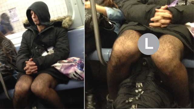 Melissa Smith takes picture of bare crotched NYC subway rider.