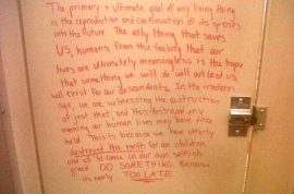 Note in girl's University bathroom stall comforting rape victims goes viral.