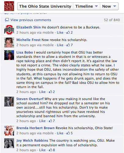 Ohio State University facebook page