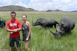Shocking! Photograph captures tourist moments before she is gored by rhinoceros.