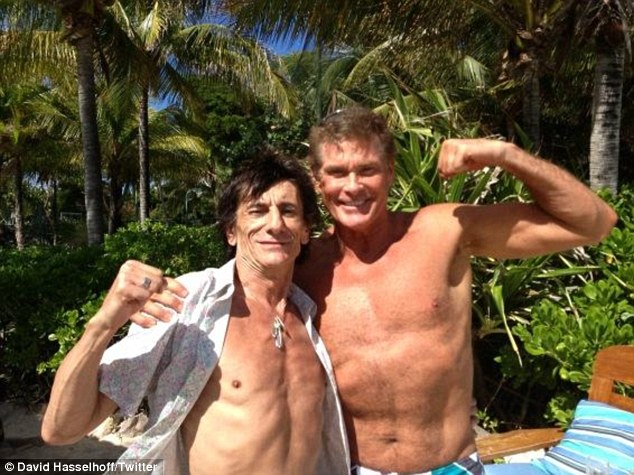 Ronnie Wood and David Hasselhoff