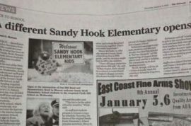 Newspaper apologizes after caught running gun ad and article about Sandy Hook Elementary school resuming.