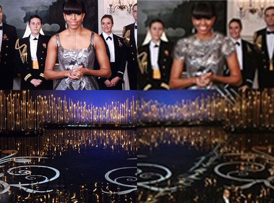 Michelle Obama Oscar's dress photoshopped