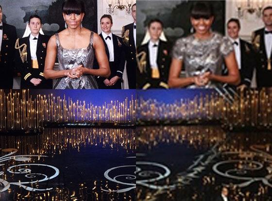Michelle Obama Oscar's dress photoshopped