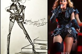 These are sketches of the dress Beyonce wore at Superbowl.