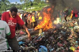 Sorceress burned alive in Papua New Guinea cause she 'killed' a six year old boy.