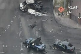 Gunman at large after three killed in Las Vegas strip. Black Maserati shot at.