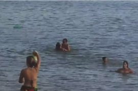 Video: Brazilian couple have sex on the beach whilst onlookers cheer them on.
