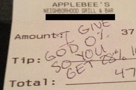 Pastor Alois Bell tip now leads to Applebee's blaming waitress fired.