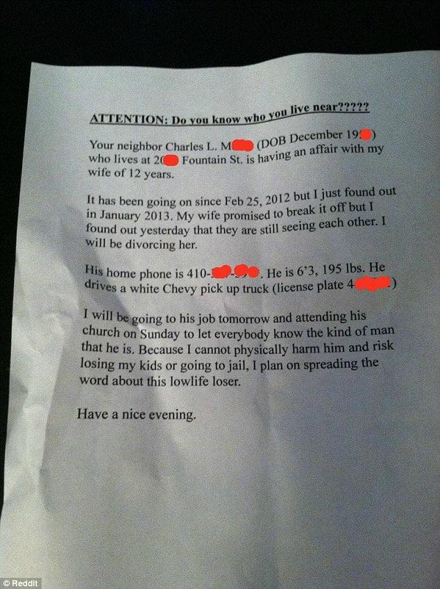 Husband revenge letter
