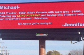 Cheating husband humiliated with giant billboard ad by wife.