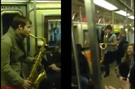 Video: Subway saxophone battle takes place between musician and busker.