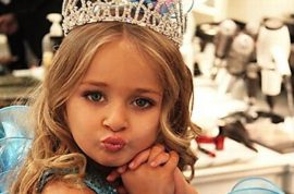 Isabella Barrett, the six year old beauty pageant millionaire. Dines on fillet mignon and lobster.