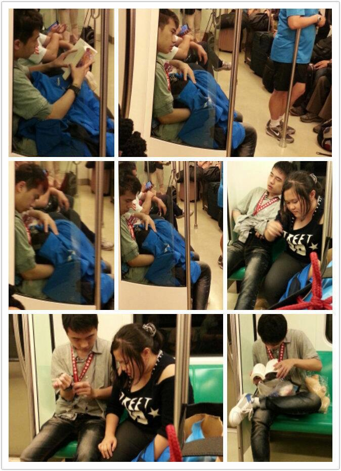 Tapei Subway rider receiving head