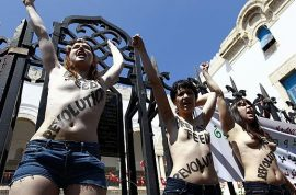 Femen: First topless protest in Islamic state leads to arrests.