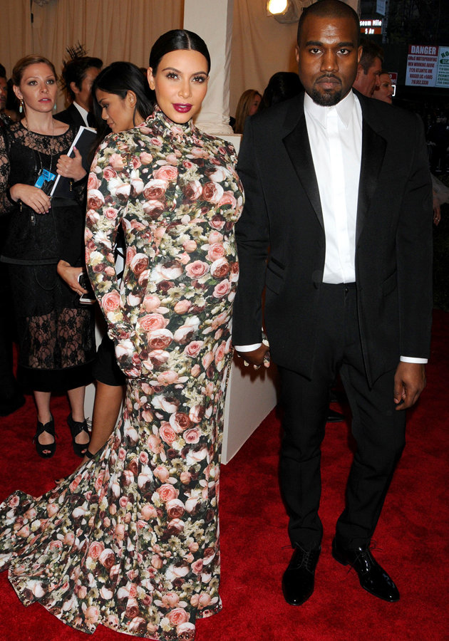 Kim Kardashian and Kayne West at the Met Ball.