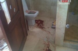 Here is a photo of the blood spattered bathroom where Oscar Pistorius shot dead Reeva Steenkamp.