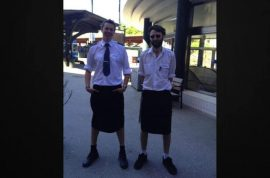 Male Swedish train drivers turn up to work in skirts after being forbidden to wear shorts.