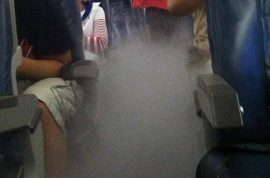Here's a picture of a Delta Airlines plane filling with smoke just after take off.