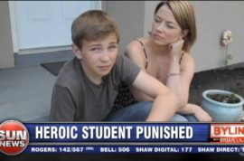 Teen Briar MacLean reprimanded for stopping knife wielding bully.