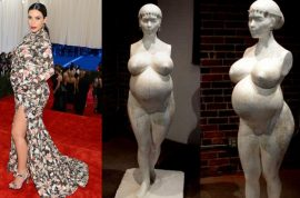 And here's a naked statue of Kim Kardashian pregnant.