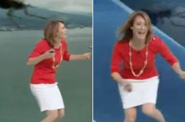 Weather girl freaks out when large spider lands on her head.