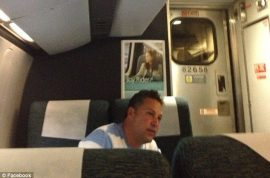 Man who brags about his affairs on Philadelphia train slammed around the world