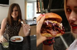 Nicola Peate disclocates jaw after biting into oversized 'Fat American' burger.