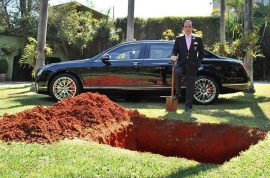 Brazilian man buries Bentley after watching documentary.