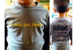 French mother, Bouchra Bagour found guilty after sending her son to school with a 'I am a bomb' t shirt.