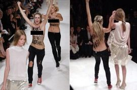 (Video) Why Nina Ricci model, Hollie-May Saker punched naked Femen protester.