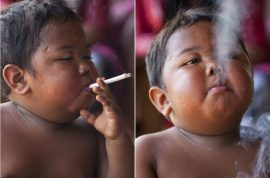 Cigarette smoking toddler, Aldi Rizal gives up smoking now addicted to junk food.
