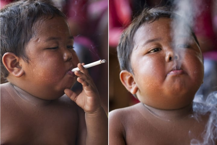 Cigarette smoking toddler