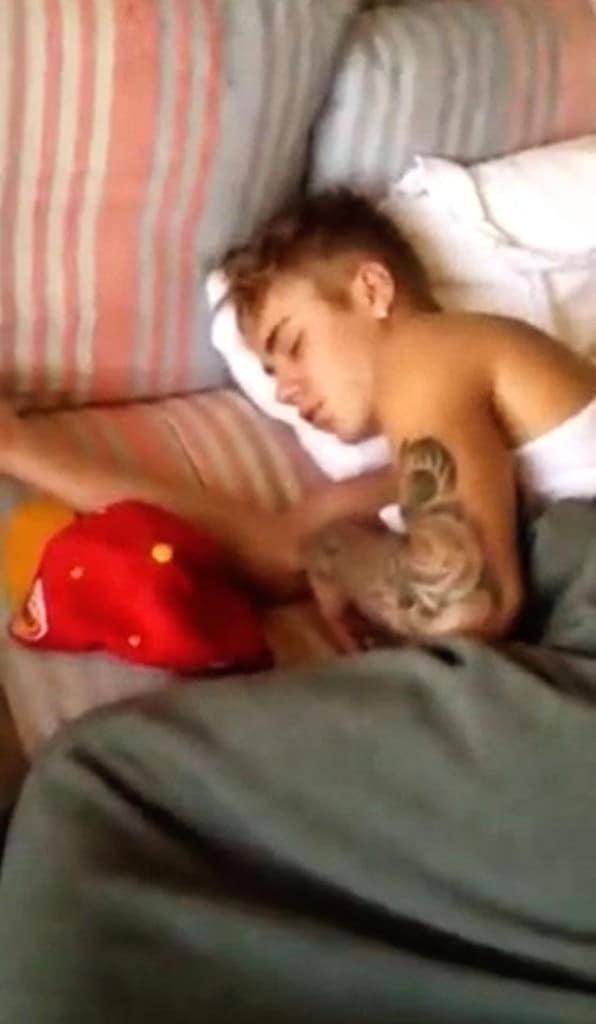 Justin Bieber sleeping