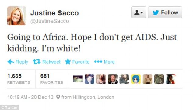 Justine Sacco tweets racist joke