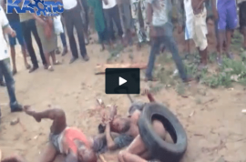 NSFW: Here is a video of two gay men beaten to death with lumps of wood.