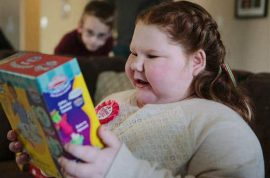 Alexis Shapiro, obese 12 year old girl eating herself to death. Denied life saving operation by insurance company.