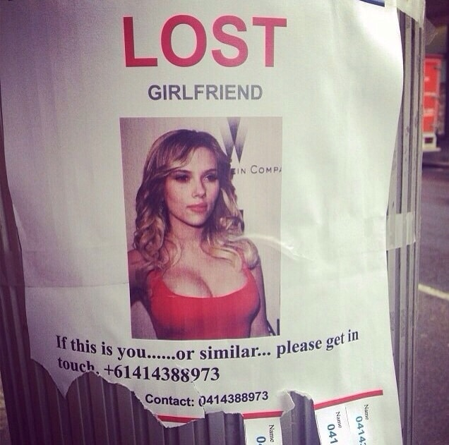 lost girlfriend flier featuring Scarlett Johansson.