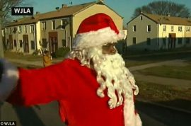 Washington DC Santa Claus gets shot while tv crew is filming.