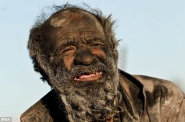Amou Haji is the world's most ineligible bachelor. Hasn't washed in 60 years.